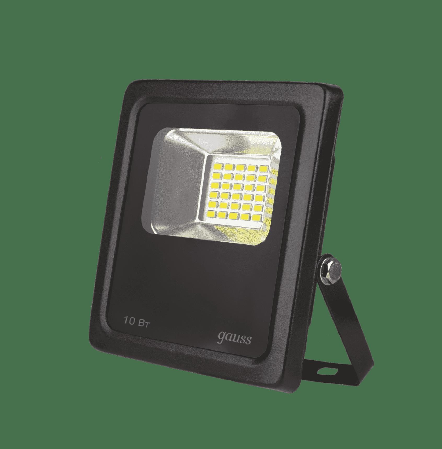 Прожектор светодиодный Gauss LED 10W IP65 6500К черный 1/24 арт. 613100310
