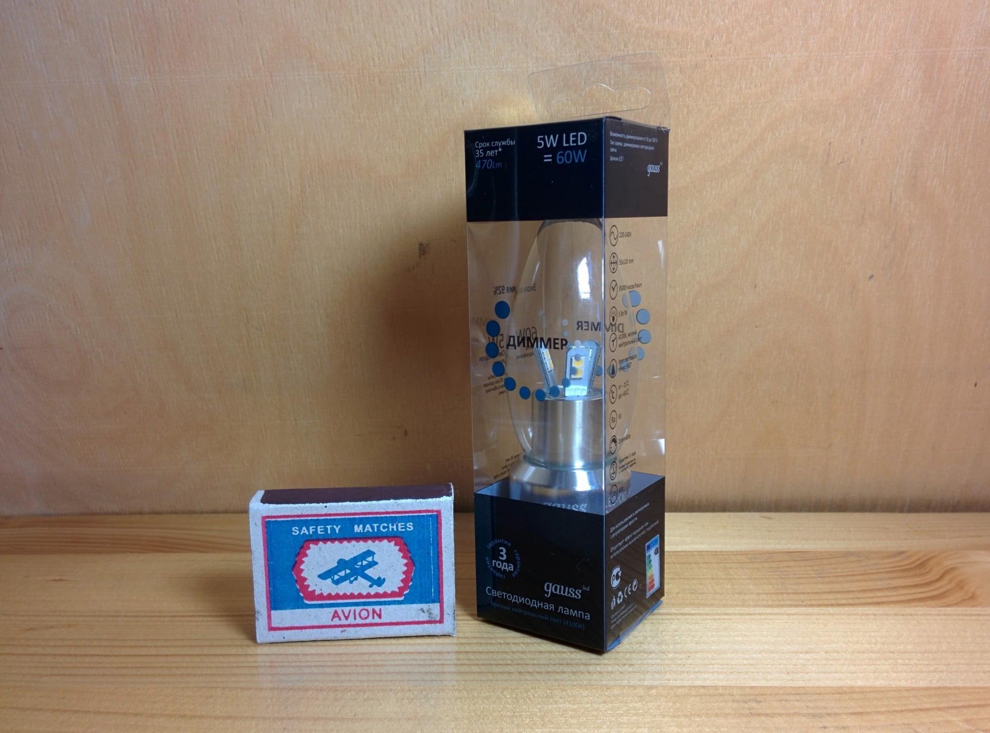 Gauss LED Candle-dim Crystal clear 5W E27 4100K диммируемая упаковка