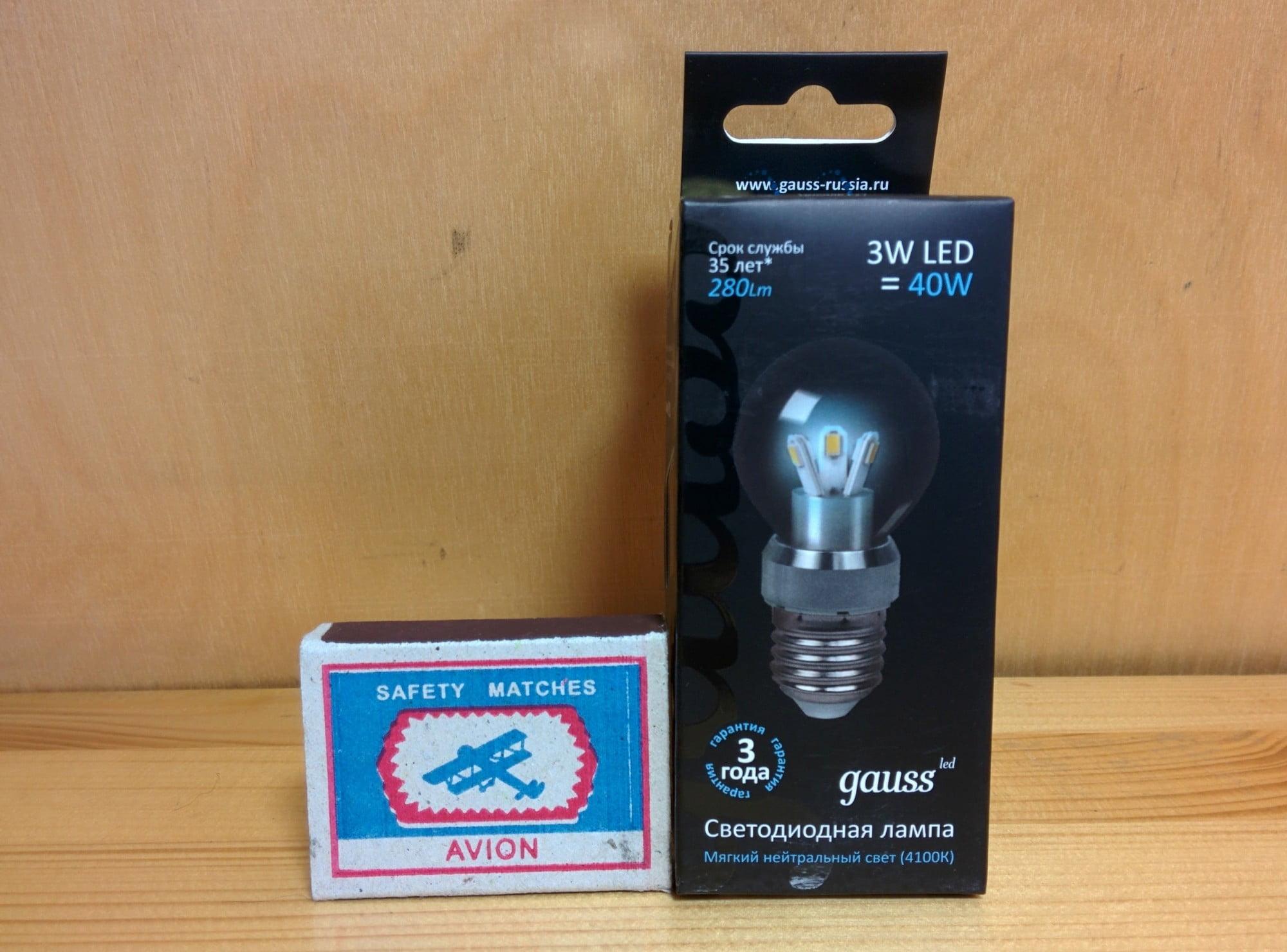 Gauss LED Globe Crystal clear 3W E27 4100K упаковка