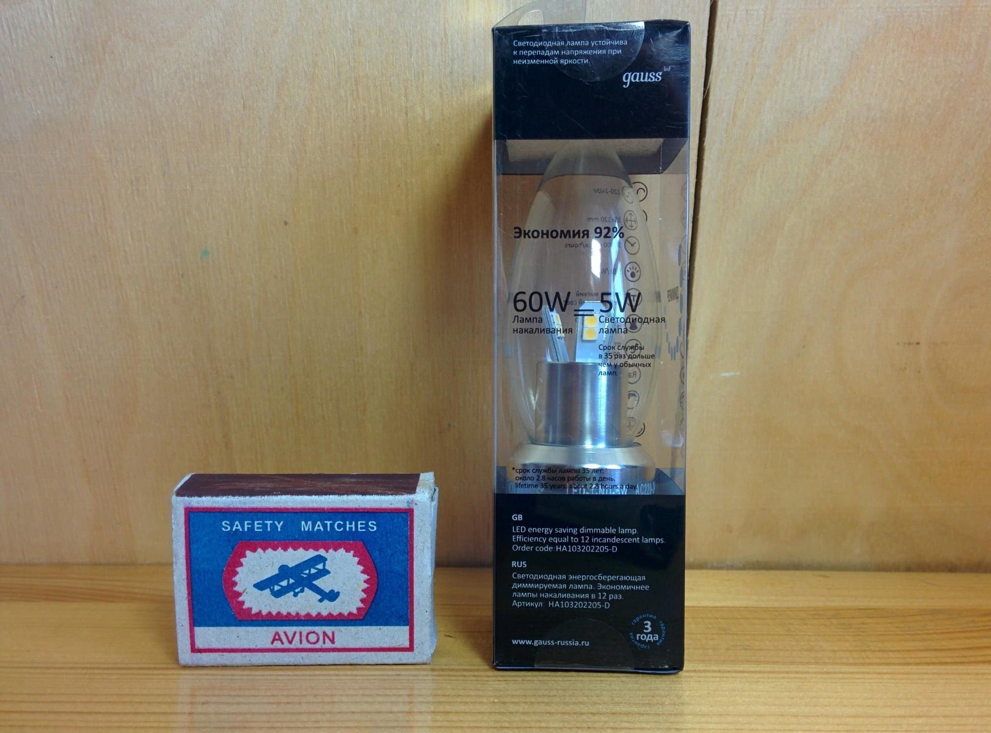 Gauss LED Candle-dim Crystal clear 5W E27 4100K диммируемая характеристики