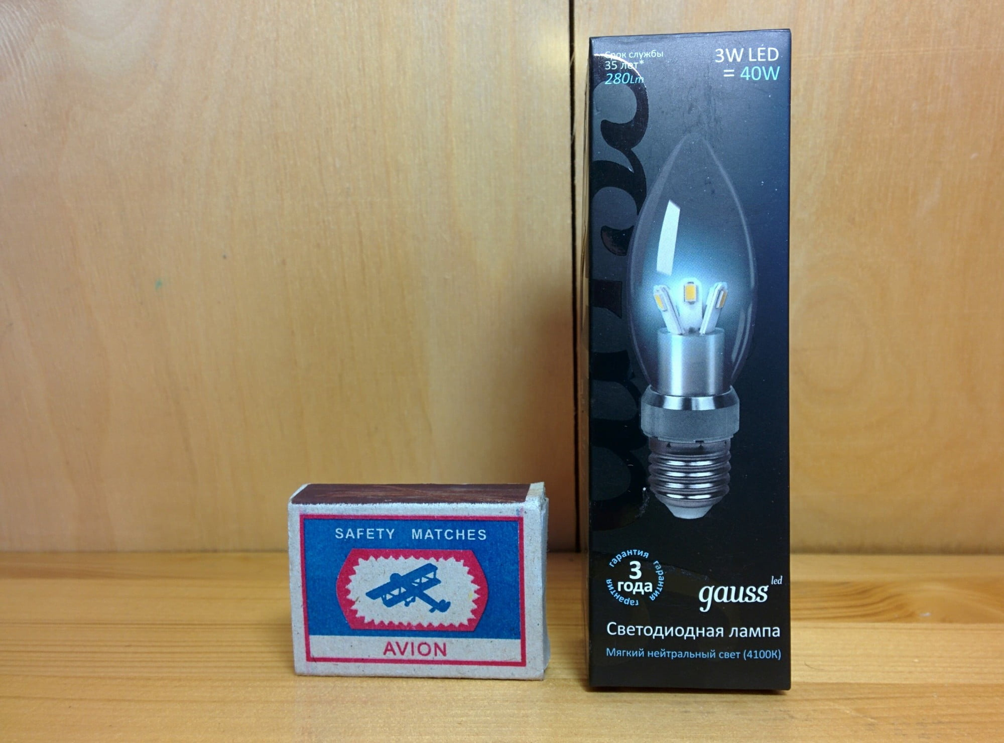 Gauss LED Candle Crystal clear 3W E27 4100K арт. HA103202203 Упаковка