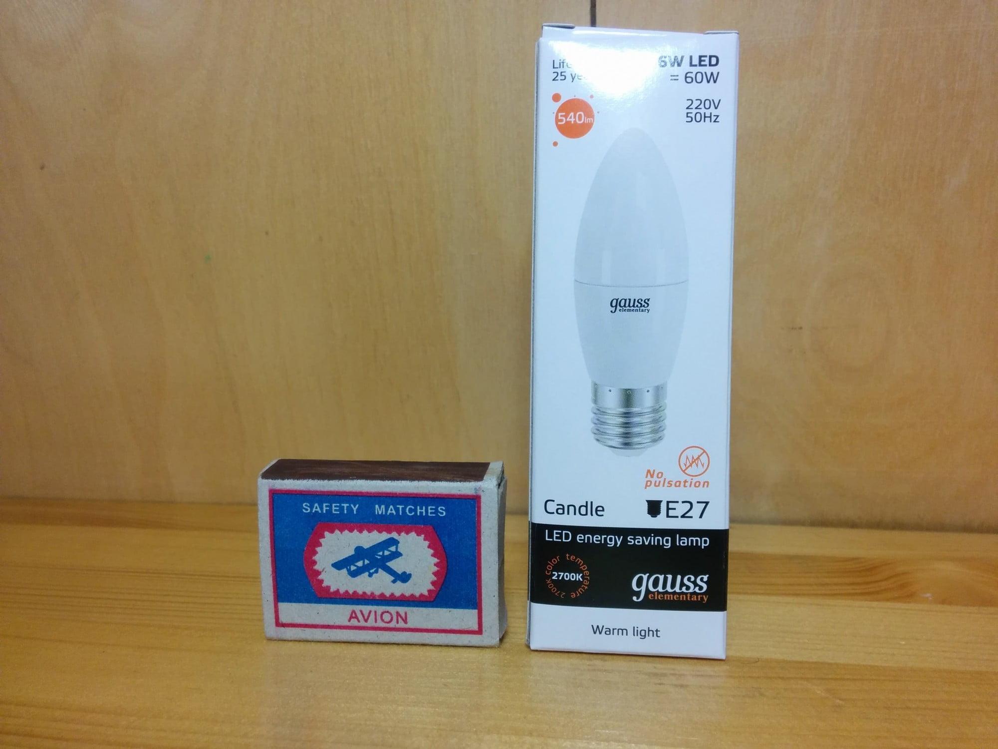Gauss LED Elementary Candle 6W E27 2700K арт. LD33216 Упаковка