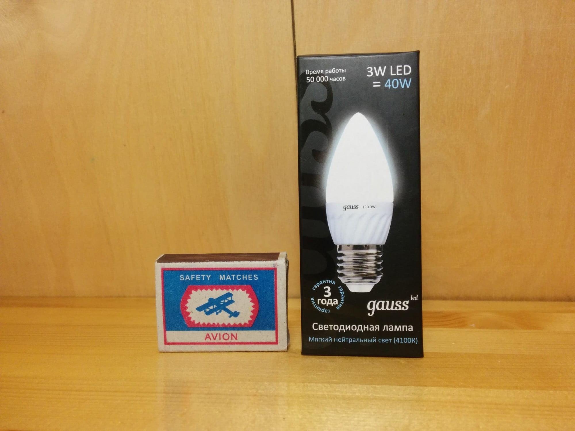 Gauss LED Ceramic Candle 3W E27 4100K упаковка