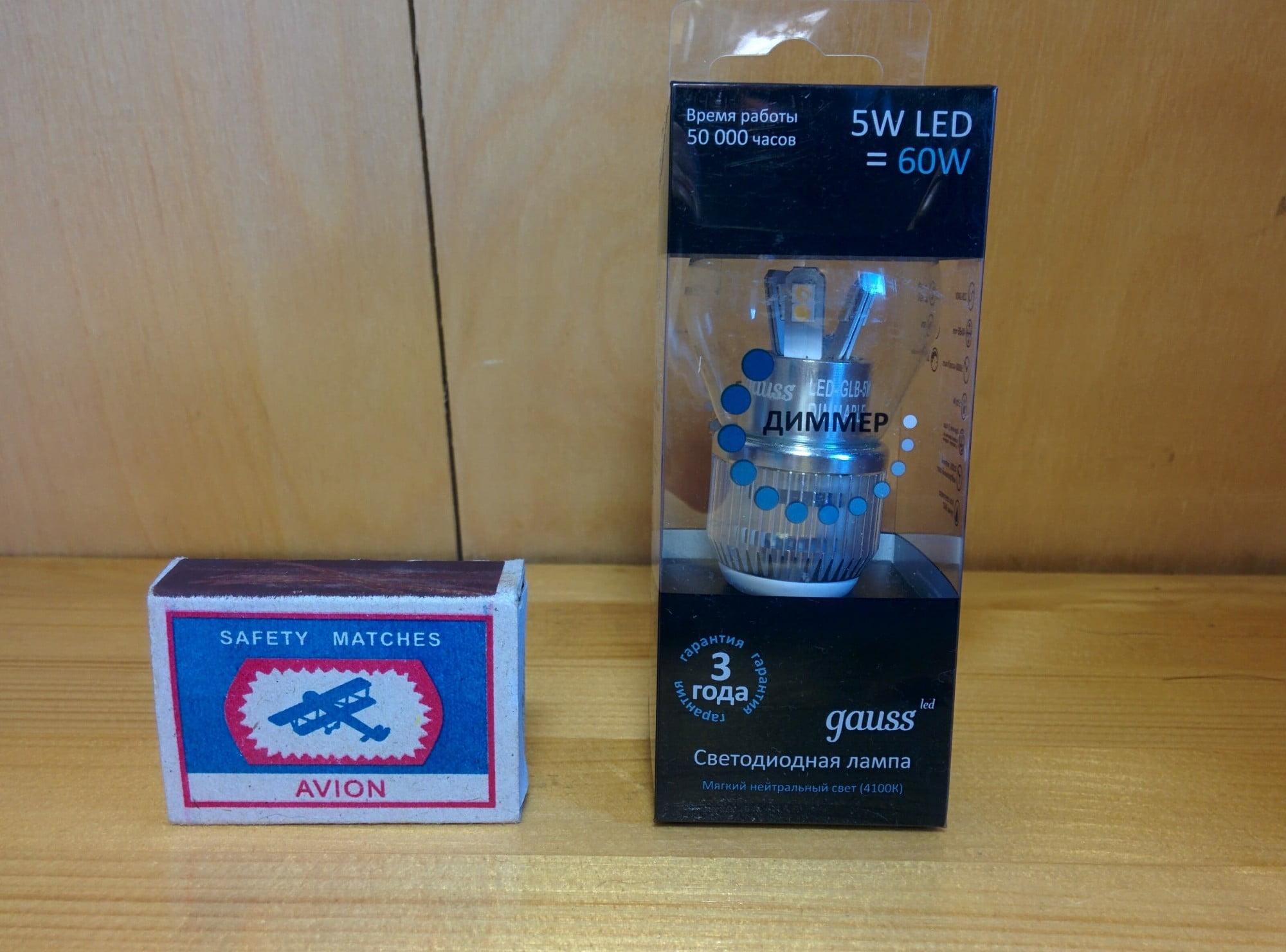 Gauss LED Globe-dim Crystal Clear 5W E14 4100K диммируемая характеристики