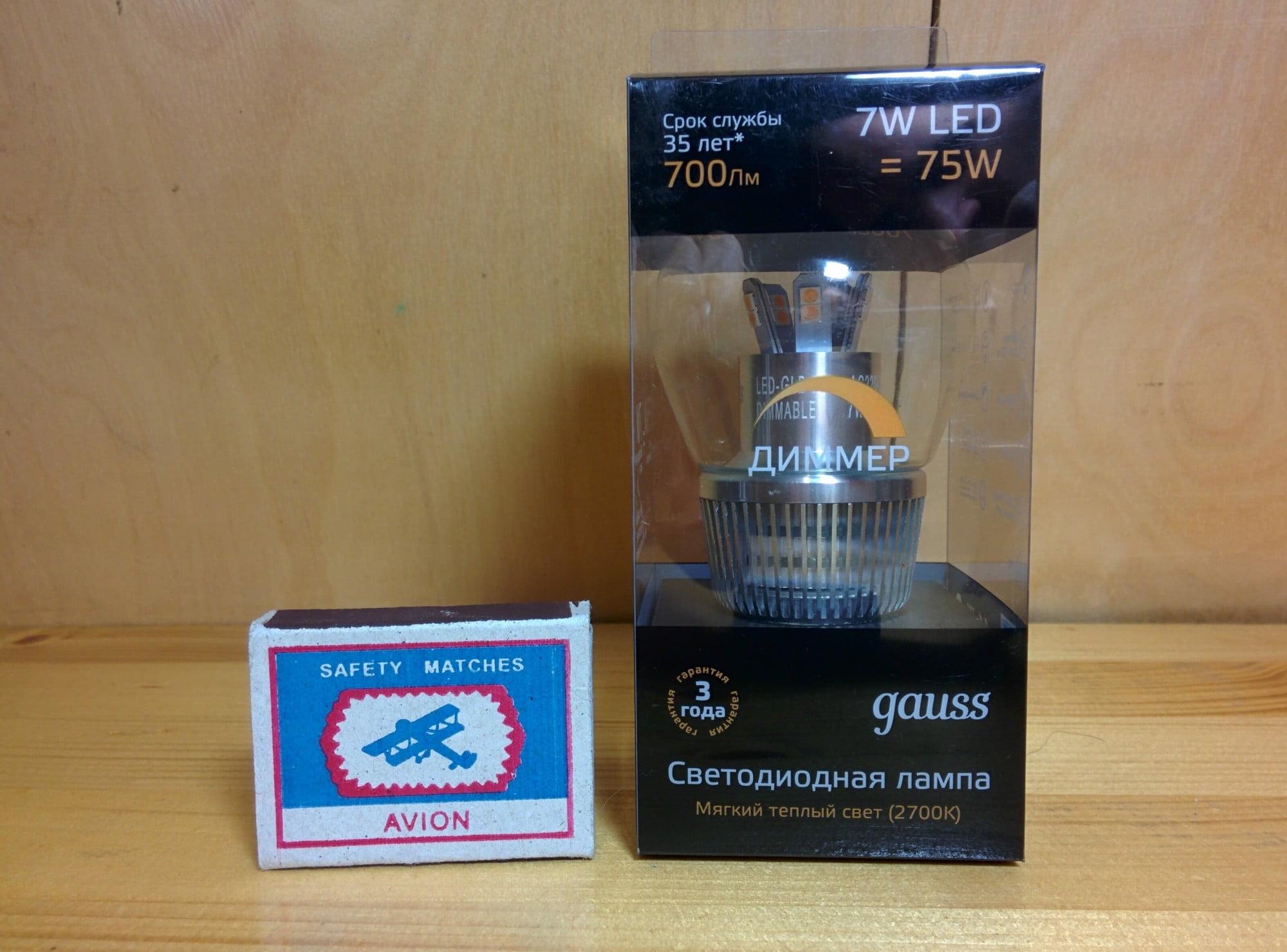 Gauss LED Globe-dim Crystal Clear 7W E27 2700K диммируемая упаковка