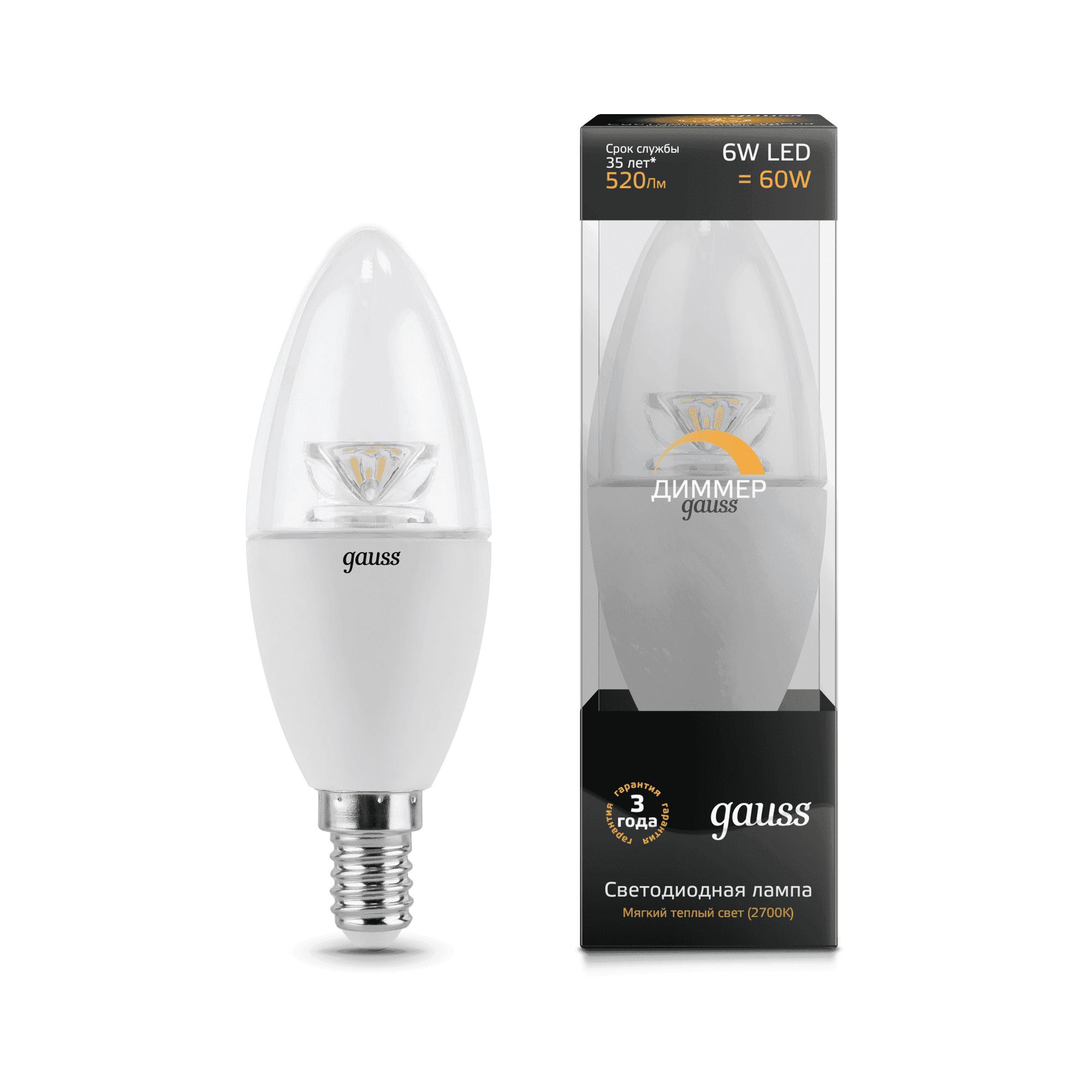 Gauss LED Candle-dim Crystal Clear E14 6W 2700К диммируемая 1/10/50 арт. 103201106-D