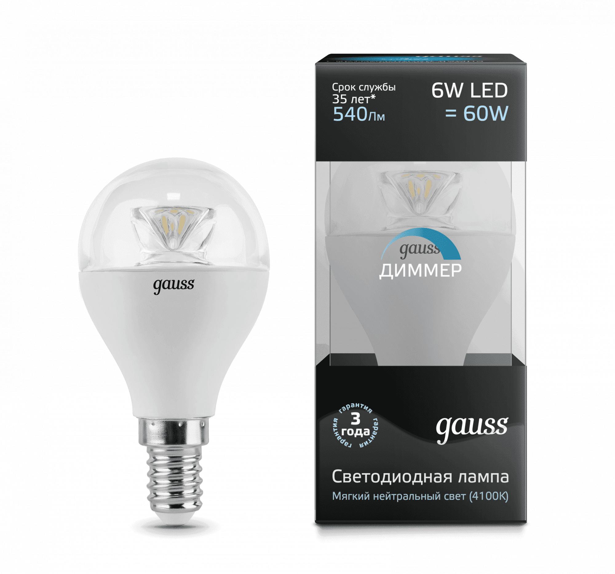 Gauss LED Globe-dim Crystal Clear E14 6W 4100K диммируемая 1/10/50 арт. 105201206-D