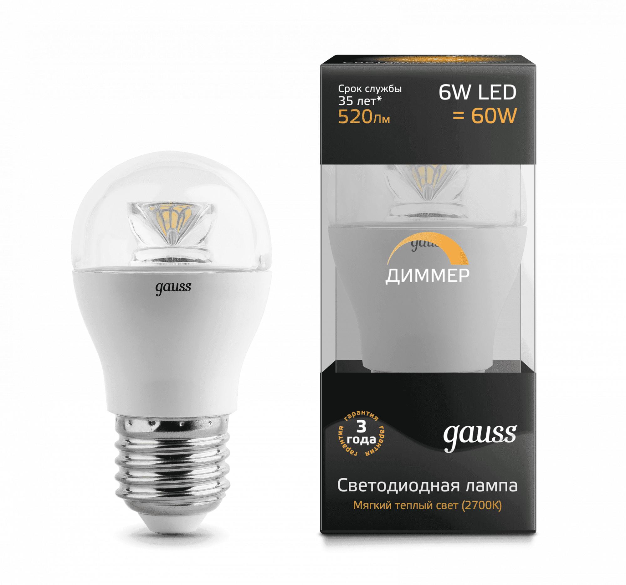 Gauss LED Globe-dim Crystal Clear E27 6W 2700K диммируемая 1/10/50 арт. 105202106-D