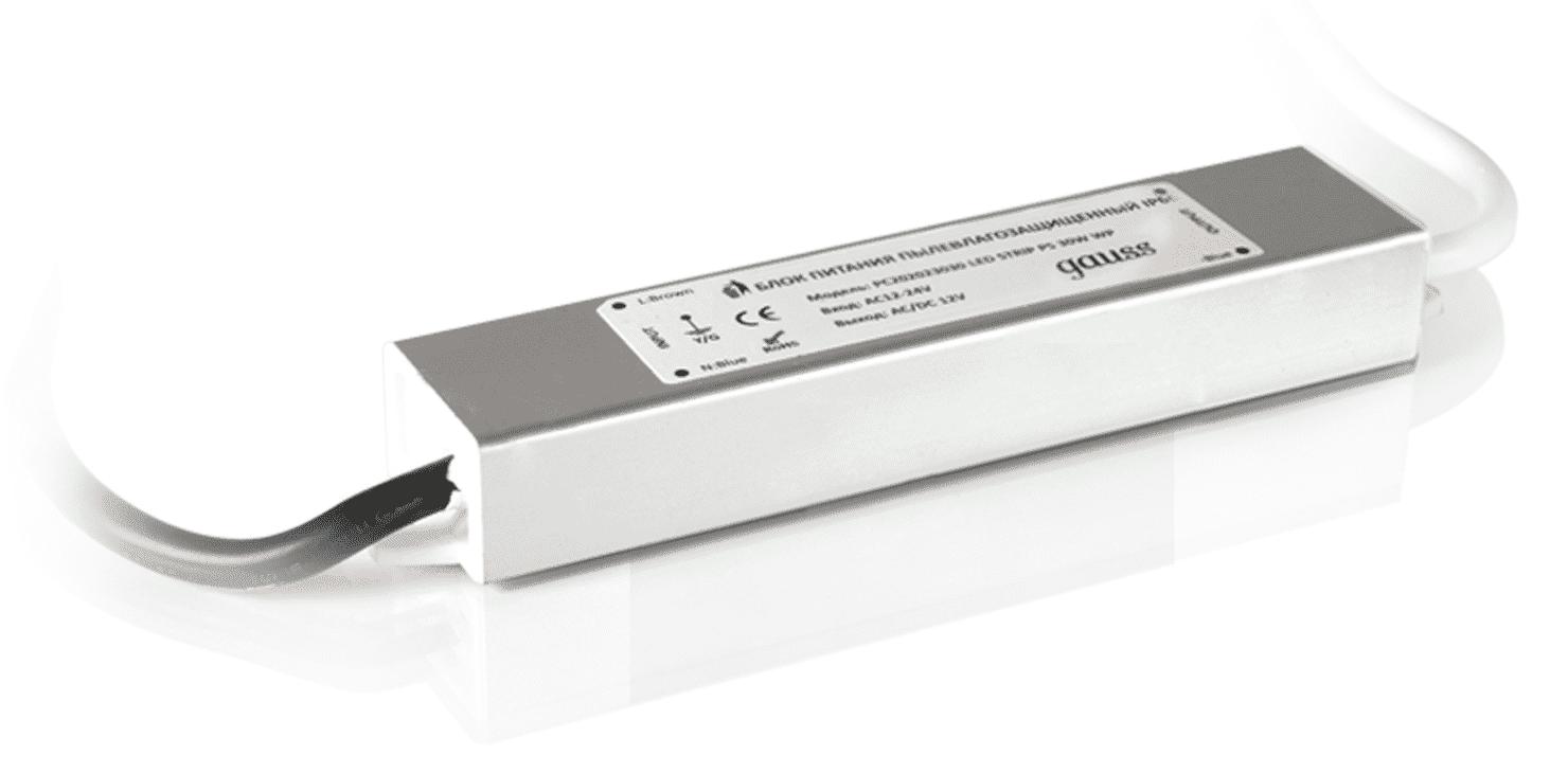 Блок питания для светодиодной ленты Gauss для светодиодной ленты пылевлагозащищенный 15W 12V IP66 арт. 202023015
