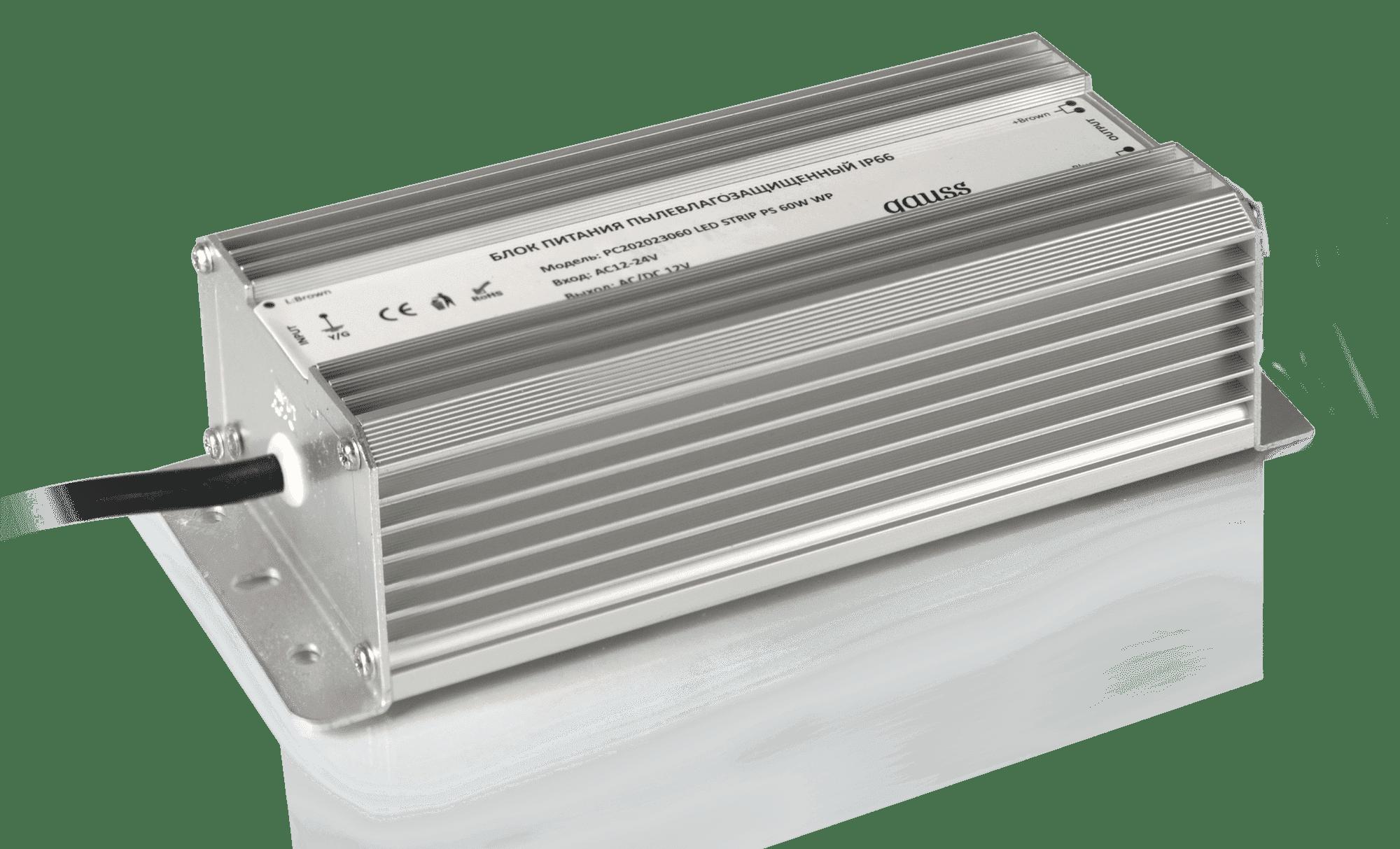 Блок питания для светодиодной ленты Gauss для светодиодной ленты пылевлагозащищенный 60W 12V IP66 арт. 202023060