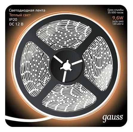Светодиодная лента Gauss LED 2835/120-SMD 9.6W  12V DC теплый белый (блистер 5м) арт. 312000110