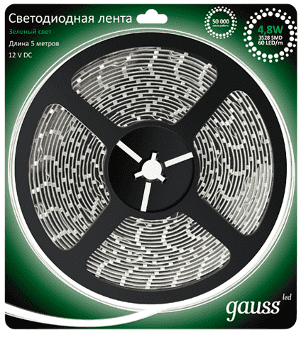 Светодиодная лента Gauss LED 2835/60-SMD 4.8W  12V DC зеленый (блистер 5м) арт. 312000605