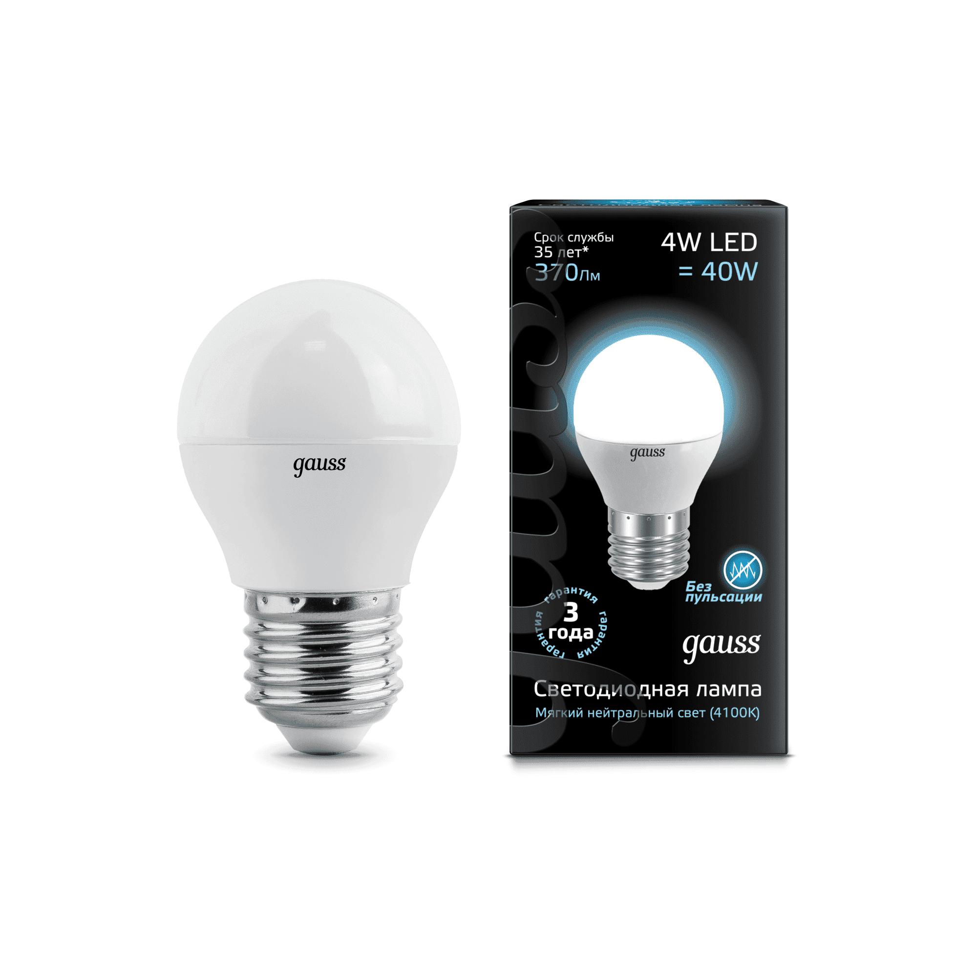 Gauss LED Globe 4W E27 4100K 1/10/50 арт. EB105102204