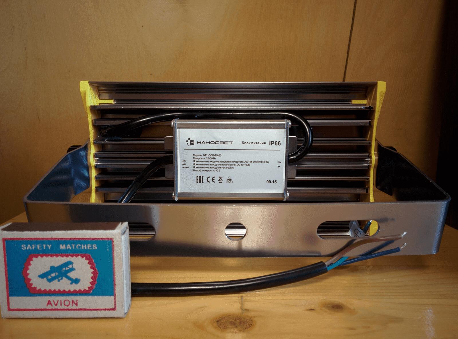 Прожектор светодиодный НАНОСВЕТ L402 NFL-COB-60W/120D/750 арт. L402 Прожектор вид с тыла