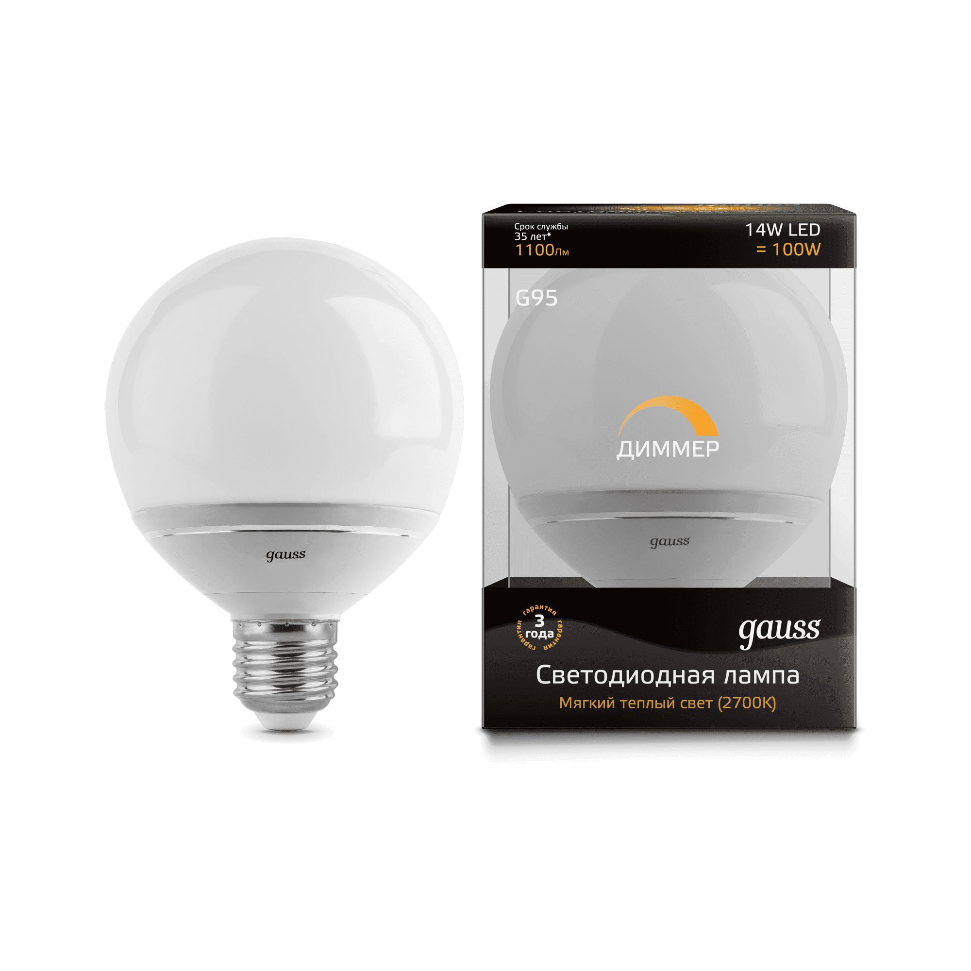 Gauss LED G95-dim 14W E27 2700K диммируемая 1/10/40 арт. EB136102114-D