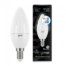 Gauss LED Candle E14 7W 4100К step dimmable 1/10/100 арт. 103101207-S