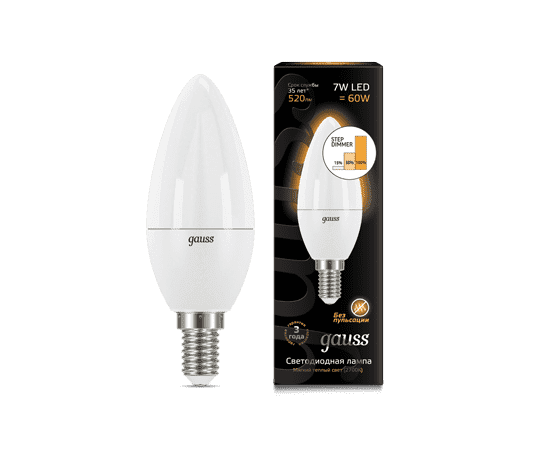 Gauss LED Candle E14 7W 2700К step dimmable 1/10/100 арт. 103101107-S
